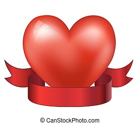 heart and red ribbon. vector illustration