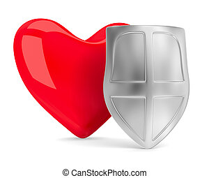 heart and shield on white. Isolated 3D image