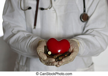 heart and sleeve in doctor hand