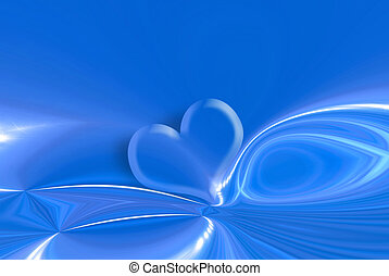 heart and stars blue background - transparent heart on blue...