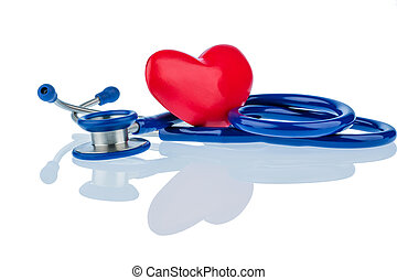 heart and stethoscope - a heart and a stethoscope are...