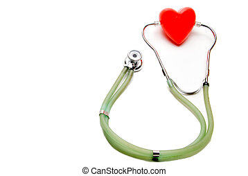 Heart and Stethoscope - A red heart and a medical...