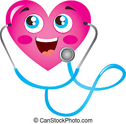 heart and stethoscope - pink heart and blue stethoscope...