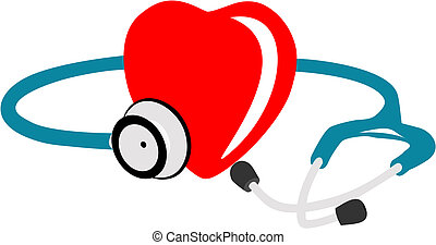 Illustration of red heart and stethoscope showing life isolated on white background