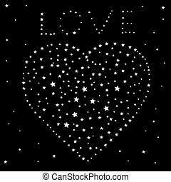 Heart and the word love of the stars on a black night sky