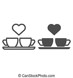 Heart and two coffee cups line and glyph icon. Two mugs and...