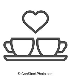 Heart and two coffee cups line icon. Two mugs and heart...