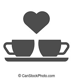 Heart and two coffee cups solid icon. Two mugs and heart...