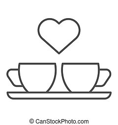 Heart and two coffee cups thin line icon. Two mugs and heart...