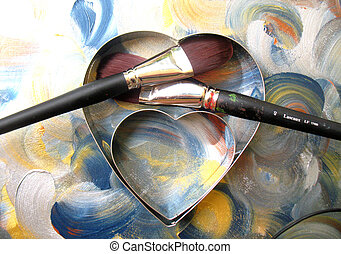 heart and two paint brushes - heart and paint brush