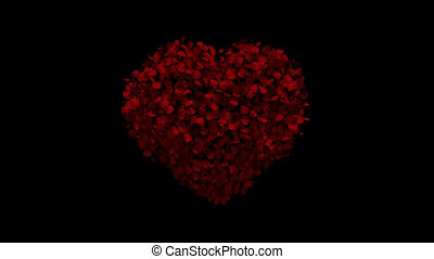 Heart animation from rose petals
