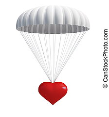 heart at  parachute on a white background