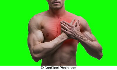 Heart attack, elderly muscular man with infarction on green background, chroma key
