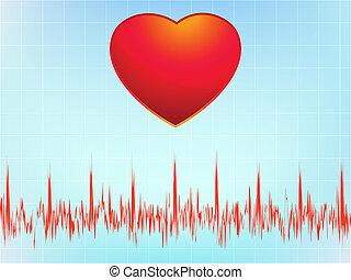 Heart attack electrocardiogram-ecg. EPS 8 vector file...