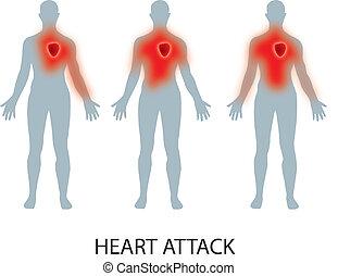 Heart attack - HEART ATTACK illustration.