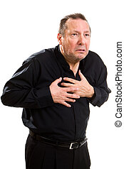 Heart Attack Man - Elderly man clutches his chest as he has...