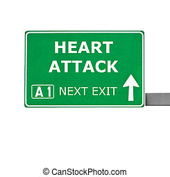 HEART ATTACK road sign isolated on white