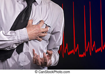 Heart attack - Man grabs to his heart