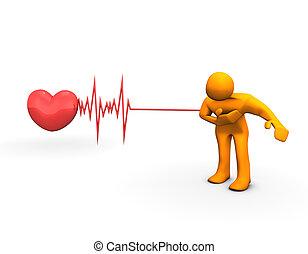 Heart Attack - The illustration looks a orange humanoid ...