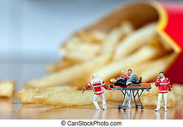 Heart attack. Unhealthy food concept. Macro photo