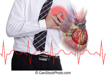 Heart Attack ,Use hand grabbing a chest with white...