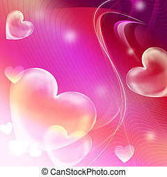 heart on the abstract pink background