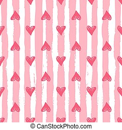 Heart background with pink stripes. Seamless pattern for Valentines day and wedding. Vintage cute vector