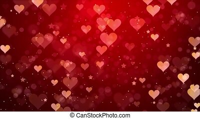 Heart backgrounds with falling hearts particle light looped ...