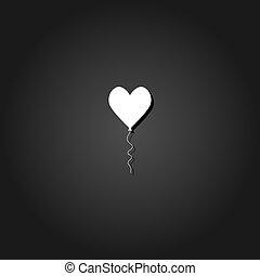 Heart balloon icon flat.