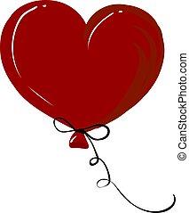 Heart balloon, illustration, vector on white background.
