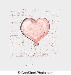 Heart balloon on grunge background cute childish style