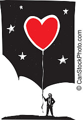 Heart Balloon - Woodcut style image of a man in a business...