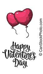 Heart balloon. Vector color vintage engrav