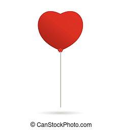 heart balloon vector in red