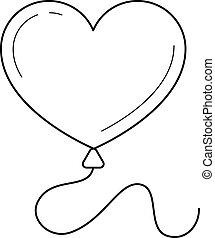 Heart balloon vector line icon.