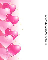 heart balloons border background with stars