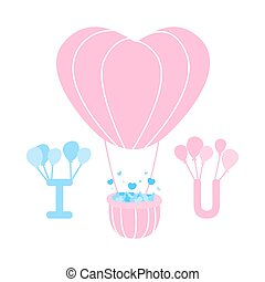 Heart balloons floating with alphabet I and U, Alphabet I and U floating with balloon, cute heart balloon, Love card for Valentine's Day, Picture for wedding, cute vector, colorful illustration,