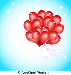 heart balloons flying in the sky