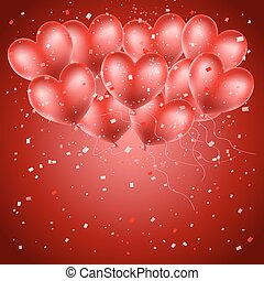 heart balloons flying on red confetti background. greeting background with space for text
