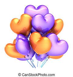 Heart balloons love party birthday decoration orange purple