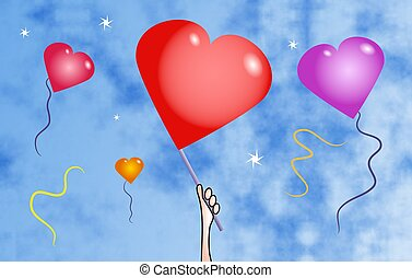 Heart Balloons - Heart shaped balloons floating in the sky.