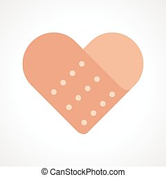 Heart Band Aid - Simple graphic of heart shaped bandage