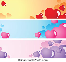 Heart banners collection 1