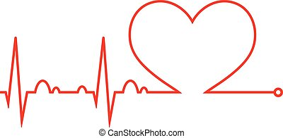 Heart beat. Cardiogram. Cardiac cycle. Medical icon. - ...