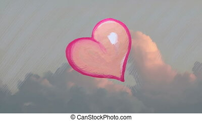 heart beat cartoon - heart in the sky, stop motion artistic...