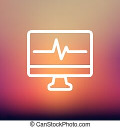 Heart beat display in monitor thin line icon