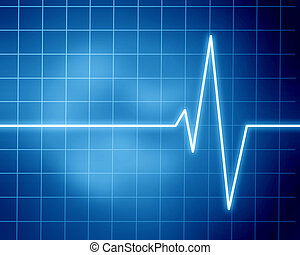 heart beat on display on a blue background