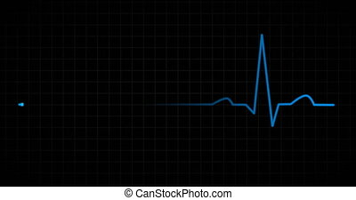 Heart beat EKG monitor blue - Heart beat pulse in blue on...