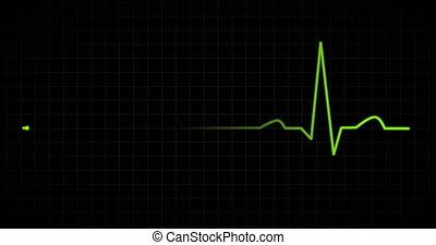 Heart beat EKG monitor green - Heart beat pulse in green on...