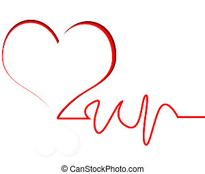 Heart Beat - heart with line white background